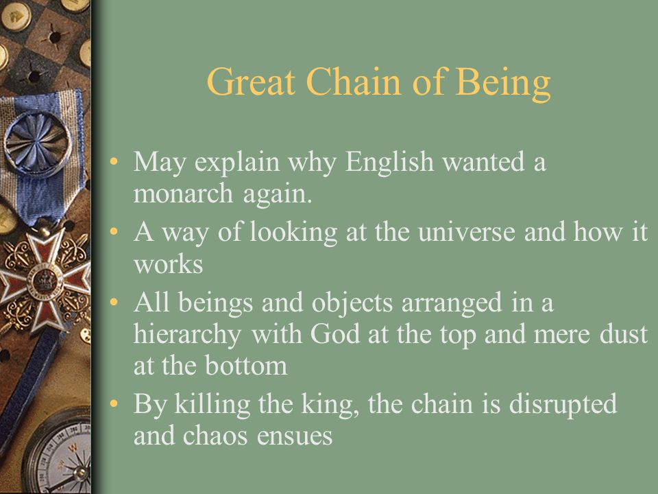 Great Chain of Being May explain why English wanted a monarch again.