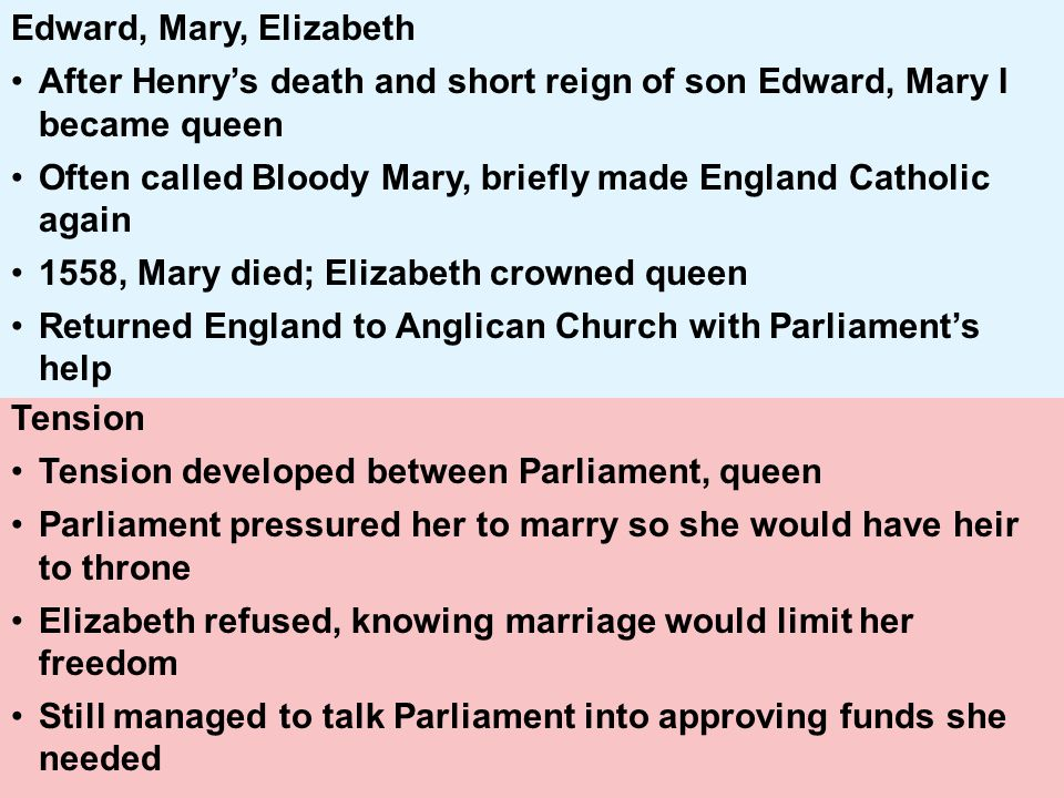 Edward, Mary, Elizabeth After Henry's death and short reign of son Edward, Mary I became queen.