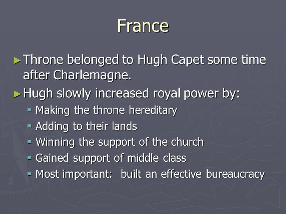 France Throne belonged to Hugh Capet some time after Charlemagne.
