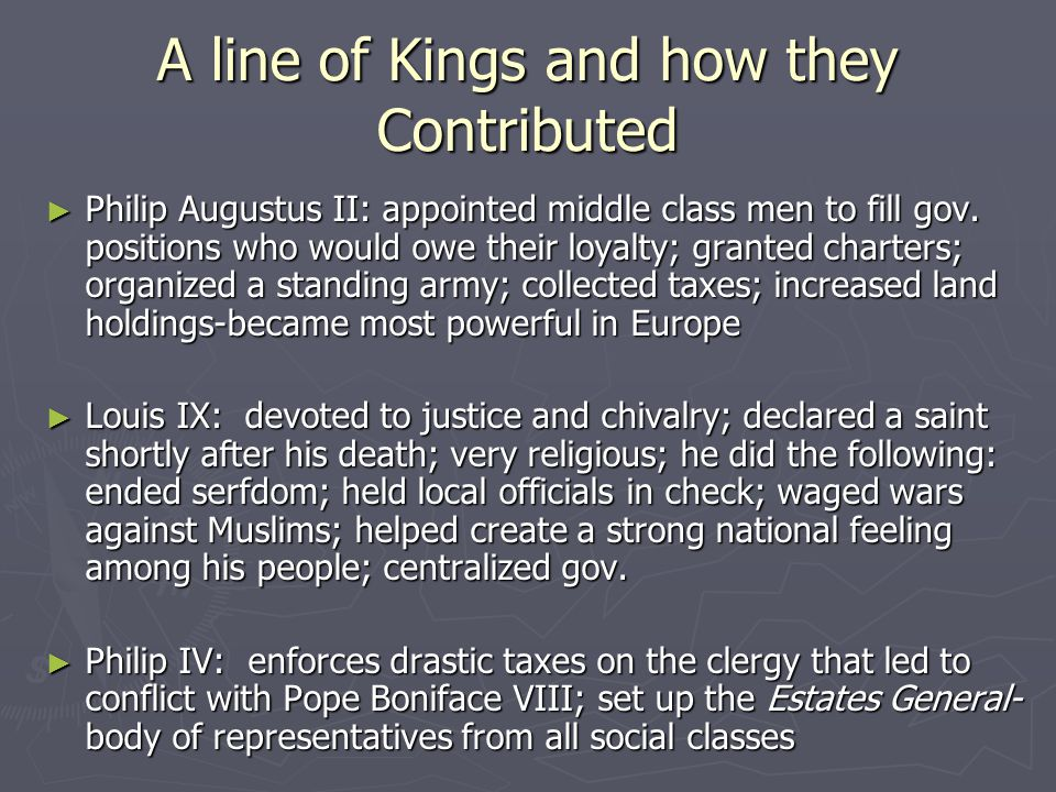 A line of Kings and how they Contributed