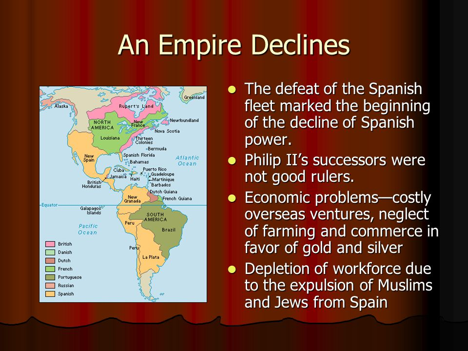 An Empire Declines The defeat of the Spanish fleet marked the beginning of the decline of Spanish power.