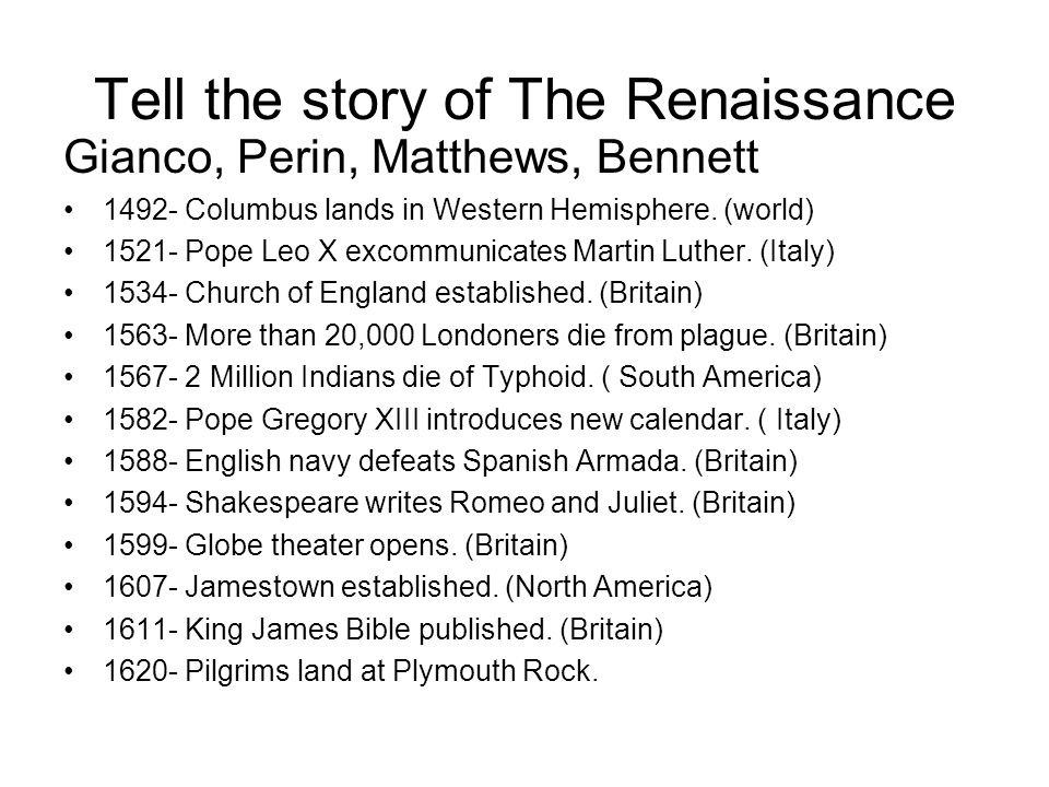 Tell the story of The Renaissance
