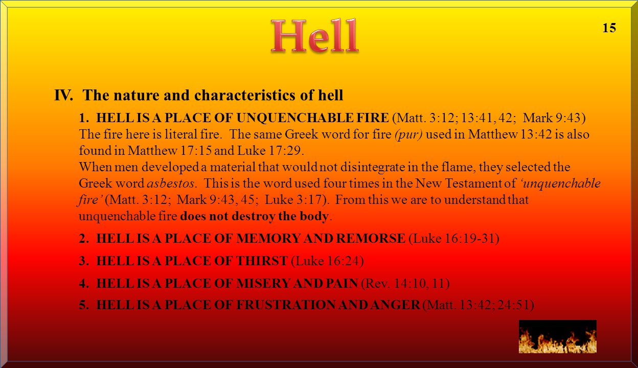 Hell IV. The nature and characteristics of hell 15