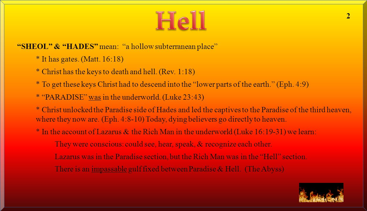 Hell 2 SHEOL & HADES mean: a hollow subterranean place