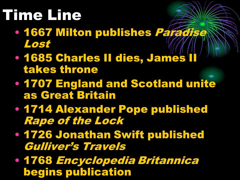 Time Line 1667 Milton publishes Paradise Lost