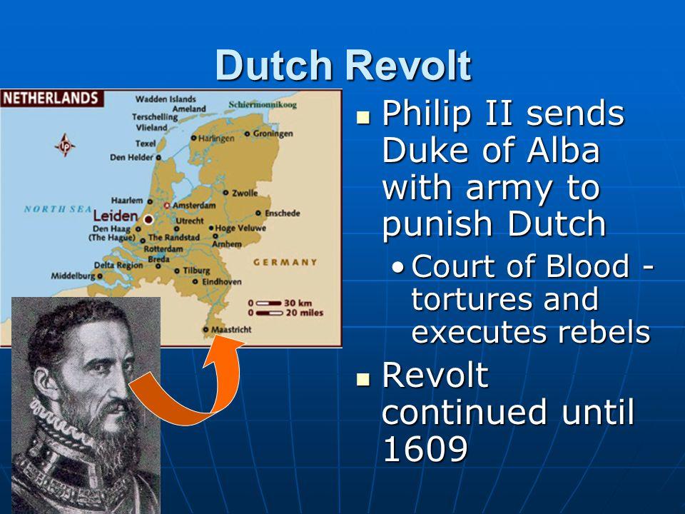 Dutch Revolt Philip II sends Duke of Alba with army to punish Dutch