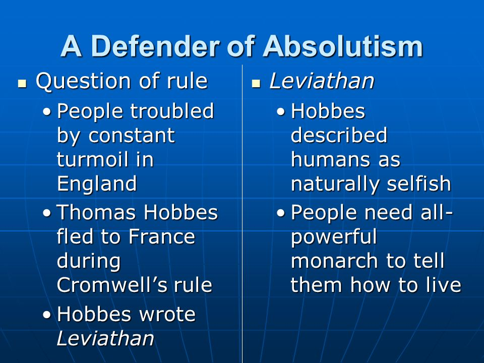 A Defender of Absolutism