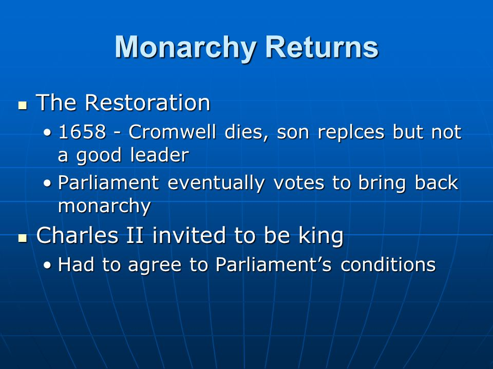 Monarchy Returns The Restoration Charles II invited to be king
