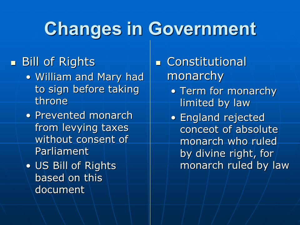 Changes in Government Bill of Rights Constitutional monarchy