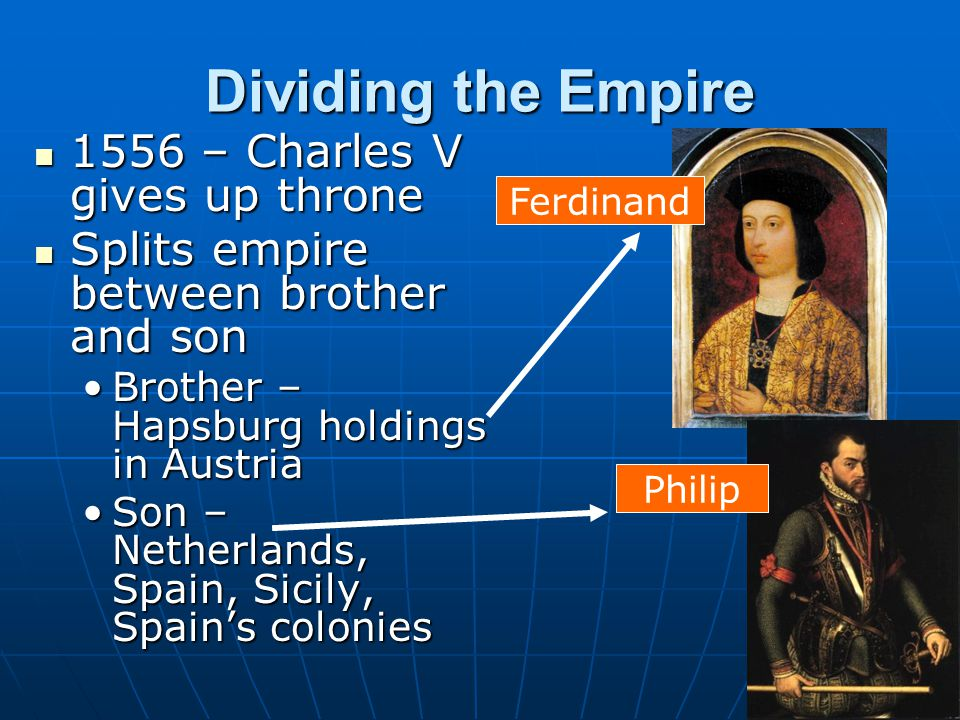 Dividing the Empire 1556 – Charles V gives up throne