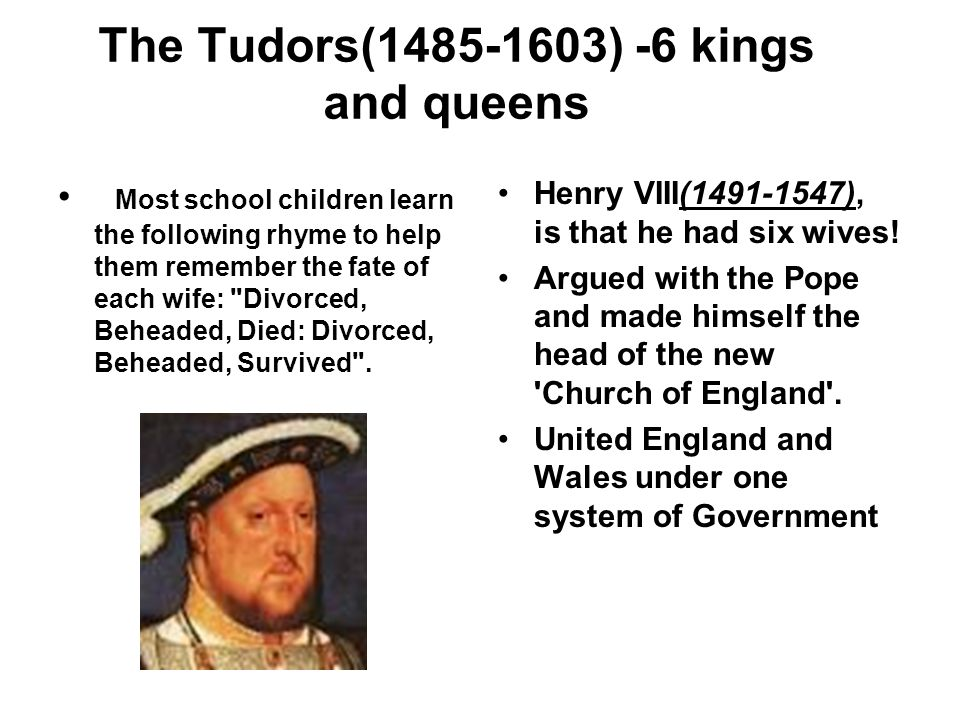 The Tudors(1485-1603) -6 kings and queens