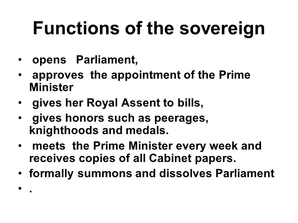 Functions of the sovereign