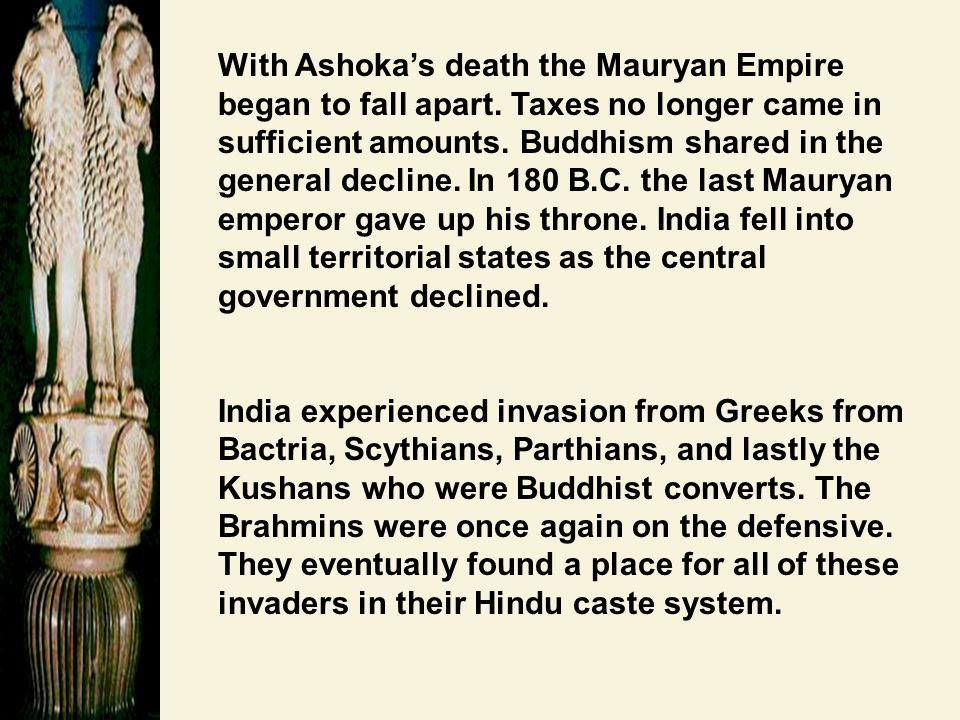 With Ashoka's death the Mauryan Empire began to fall apart