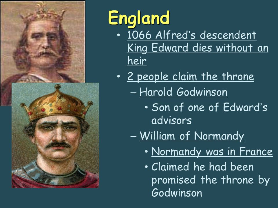 England 1066 Alfred's descendent King Edward dies without an heir