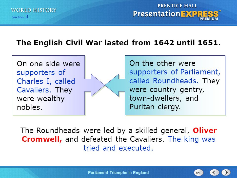 The English Civil War lasted from 1642 until 1651.
