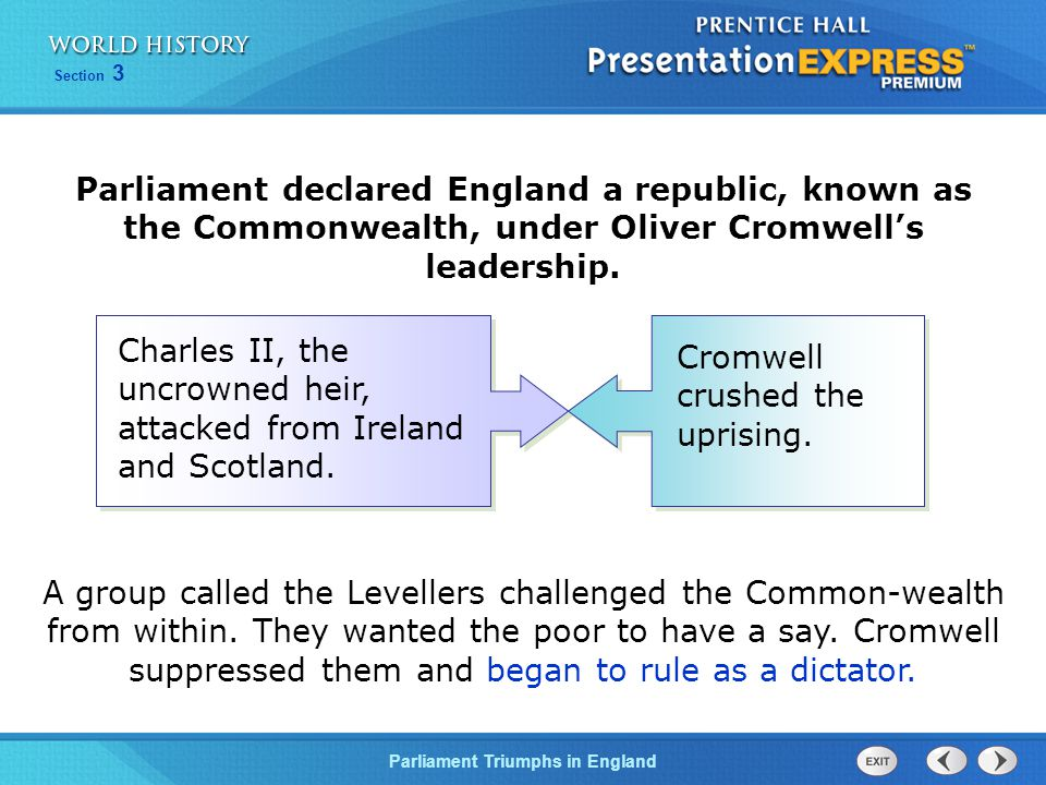 Parliament declared England a republic, known as the Commonwealth, under Oliver Cromwell's leadership.