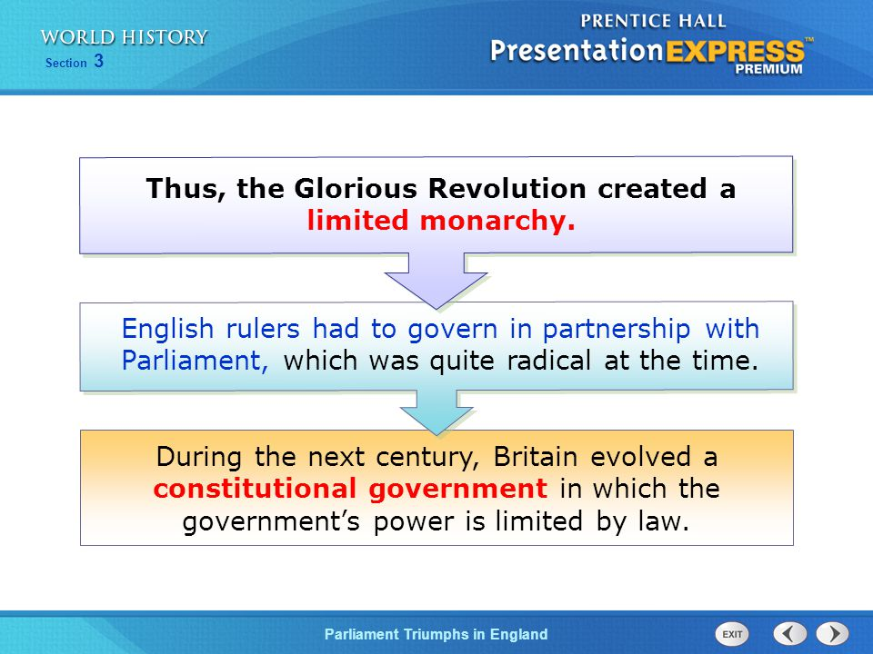 Thus, the Glorious Revolution created a limited monarchy.