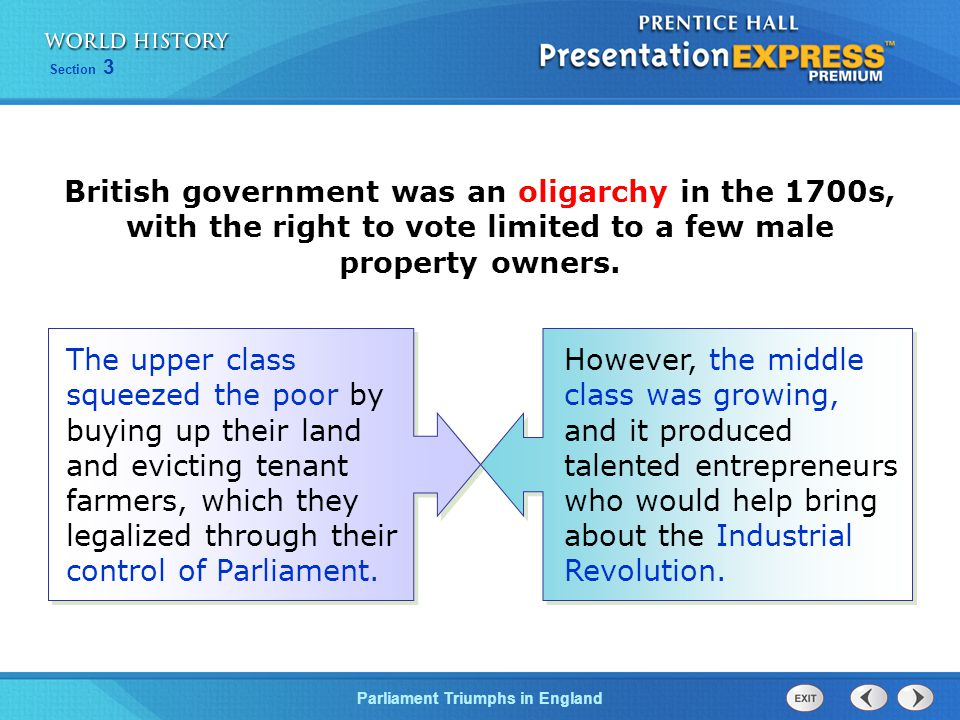British government was an oligarchy in the 1700s, with the right to vote limited to a few male property owners.