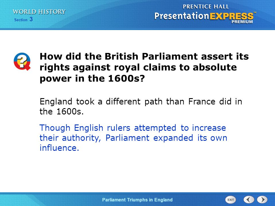 How did the British Parliament assert its rights against royal claims to absolute power in the 1600s
