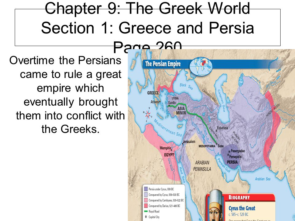 Chapter 9: The Greek World Section 1: Greece and Persia Page 260