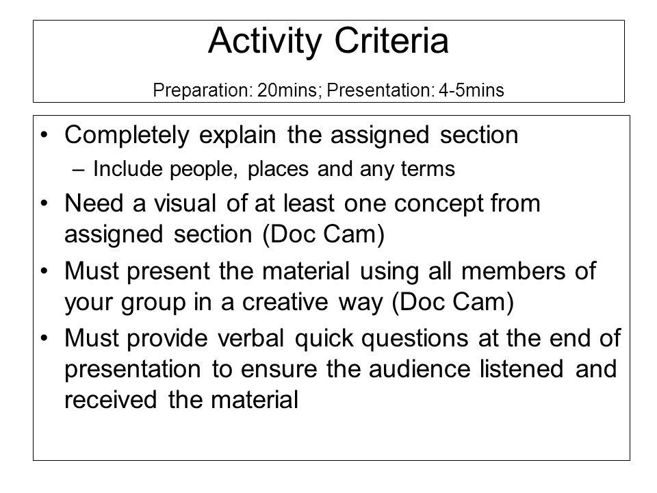 Activity Criteria Preparation: 20mins; Presentation: 4-5mins