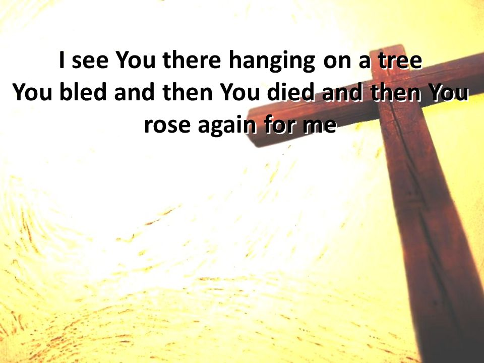 I see You there hanging on a tree You bled and then You died and then You rose again for me