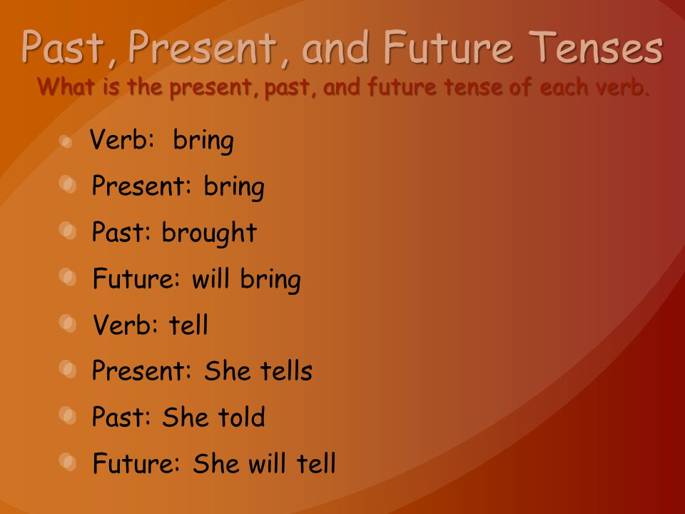 Past, Present, and Future Tenses What is the present, past, and future tense of each verb.