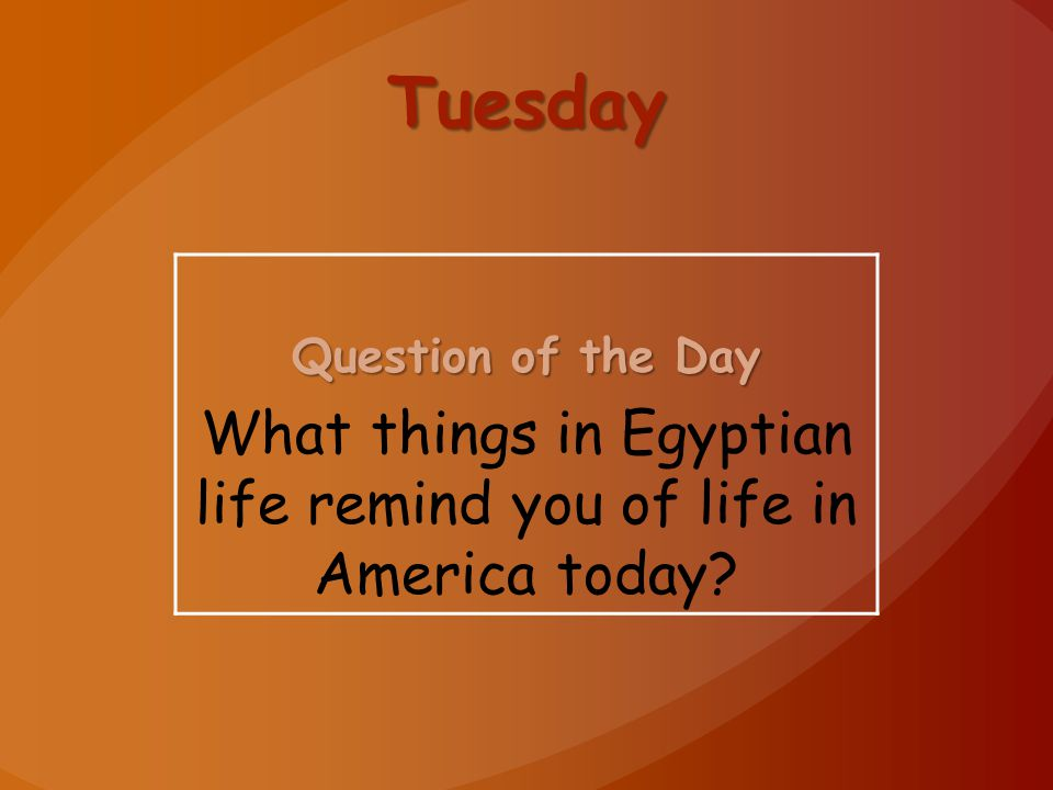 What things in Egyptian life remind you of life in America today