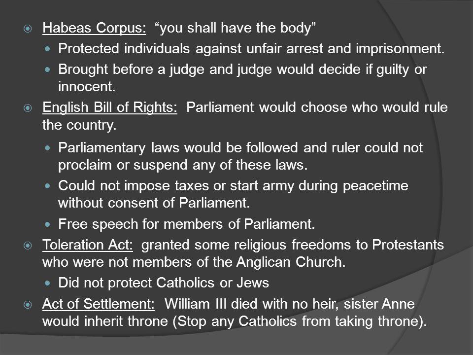 Habeas Corpus: you shall have the body