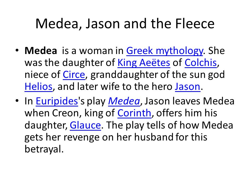 Medea, Jason and the Fleece