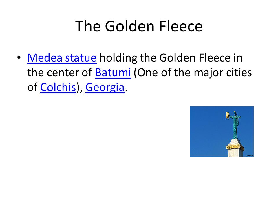 The Golden Fleece Medea statue holding the Golden Fleece in the center of Batumi (One of the major cities of Colchis), Georgia.