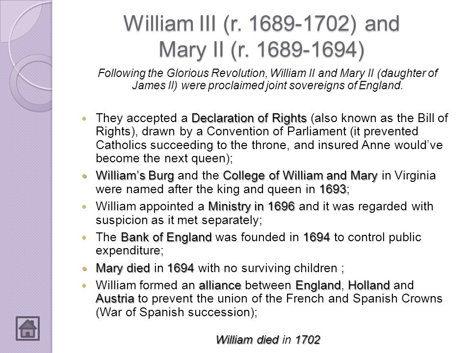 William III (r. 1689-1702) and Mary II (r. 1689-1694)