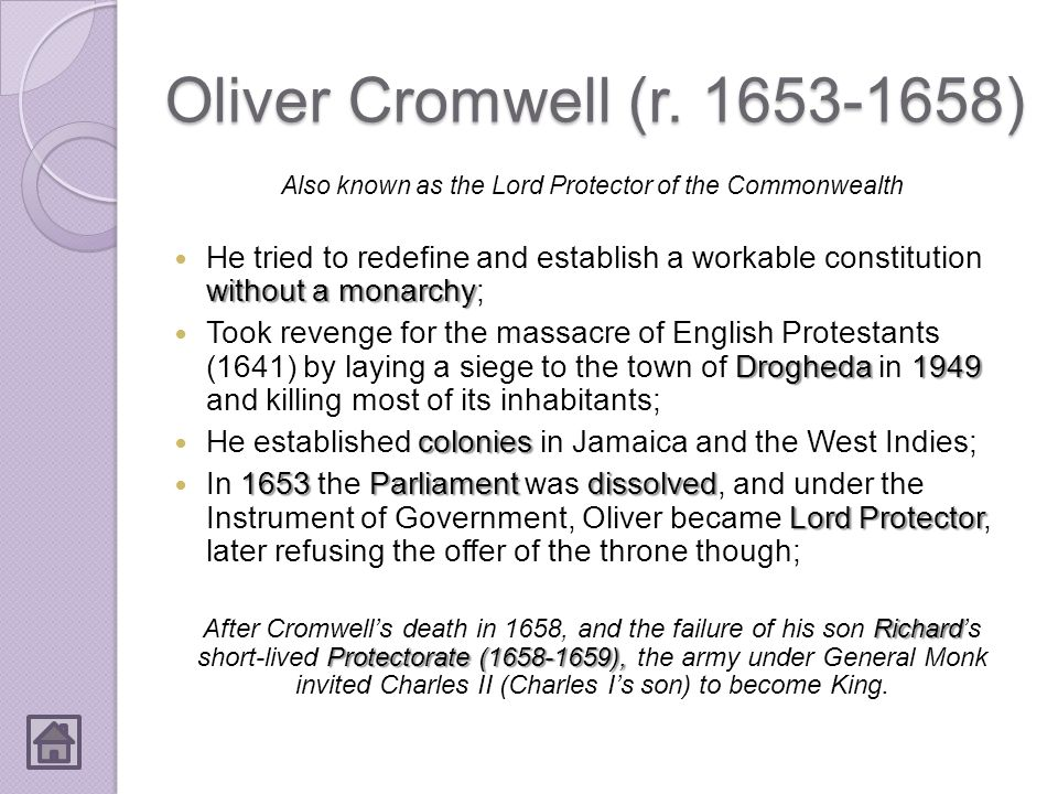 Also known as the Lord Protector of the Commonwealth