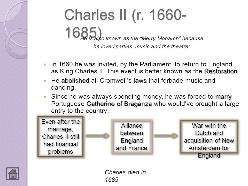 Charles II (r. 1660-1685) He is also known as the Merry Monarch because. he loved parties, music and the theatre;