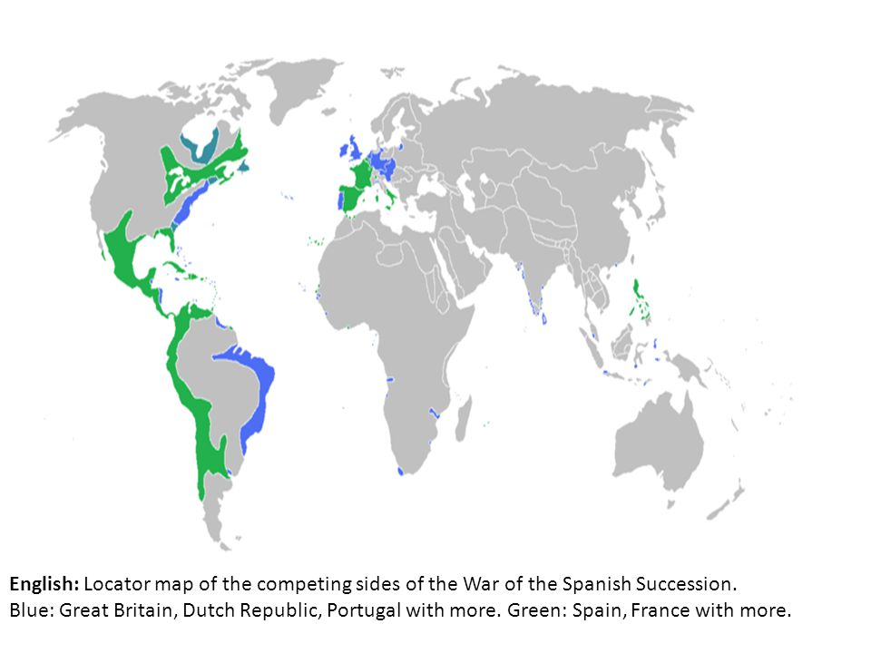 English: Locator map of the competing sides of the War of the Spanish Succession.