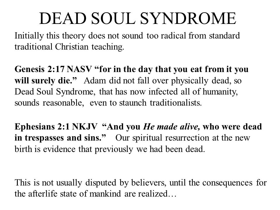 DEAD SOUL SYNDROME Initially this theory does not sound too radical from standard traditional Christian teaching.