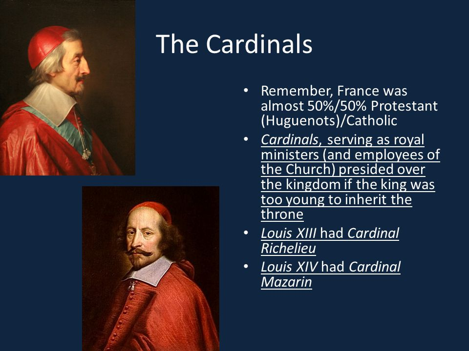 The Cardinals Remember, France was almost 50%/50% Protestant (Huguenots)/Catholic.