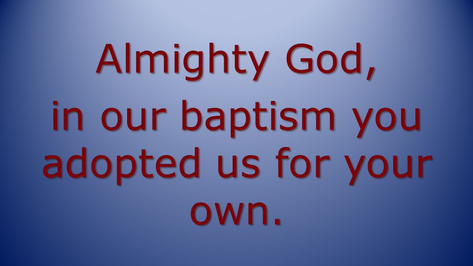 Almighty God, in our baptism you adopted us for your own.