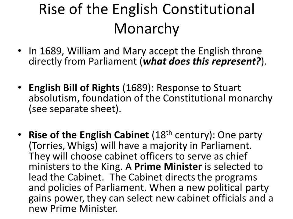 Rise of the English Constitutional Monarchy