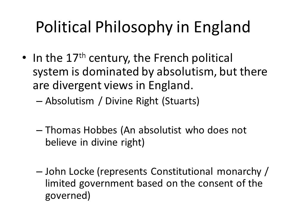 Political Philosophy in England