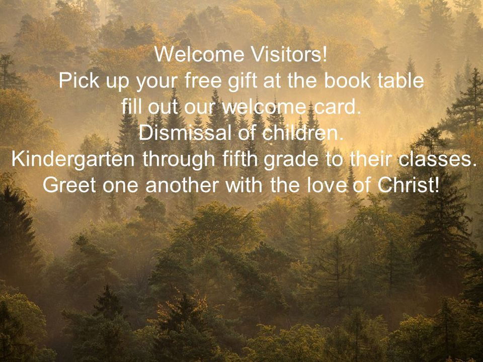 Pick up your free gift at the book table fill out our welcome card.
