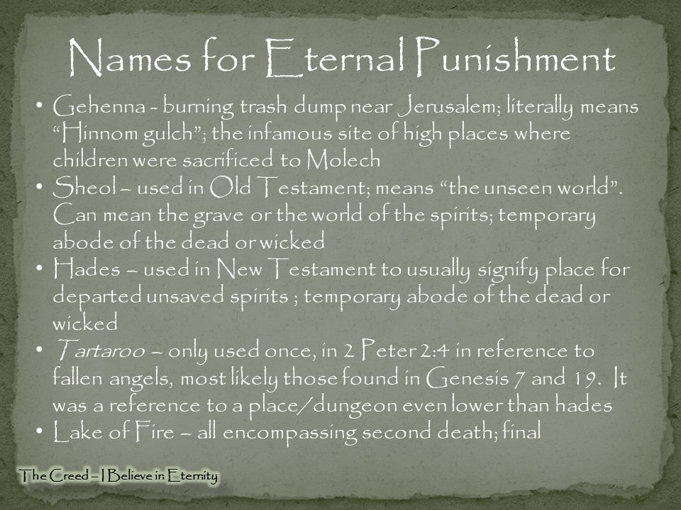 Names for Eternal Punishment