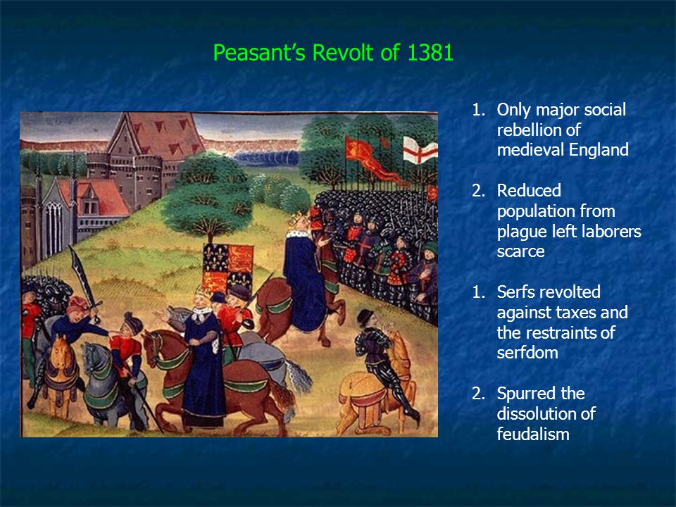 Peasant's Revolt of 1381 Only major social rebellion of medieval England. Reduced population from plague left laborers scarce.