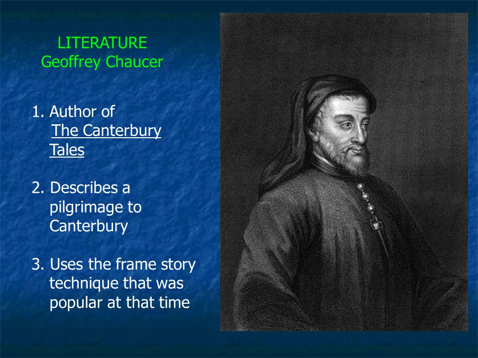 the comparison of time periods in geoffrey chaucers canterbury tales Retired clerk of works geoffrey chaucer finishes prologue of his masterpiece the canterbury tales chaucer was born around 1340 and lived through a time of incredible tension in the english social sphere.