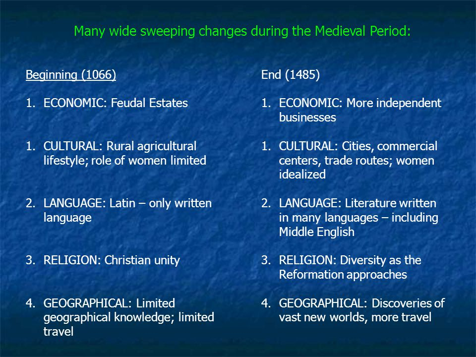 Many wide sweeping changes during the Medieval Period: