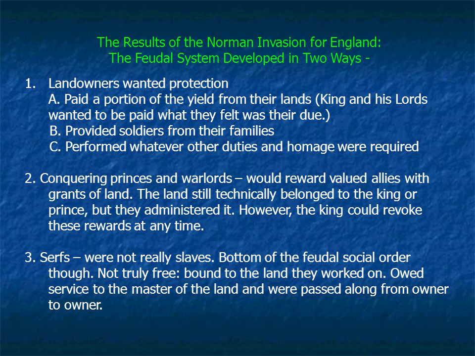 The Results of the Norman Invasion for England: