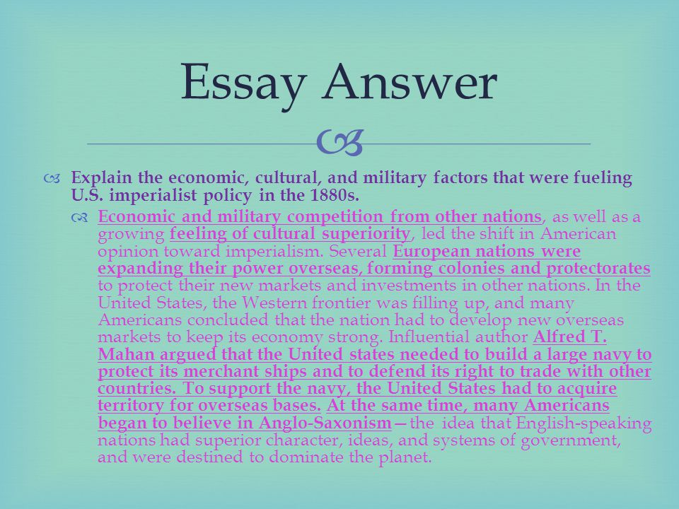 opinion on imperialism essay The age of imperialism: in my opinion, i do believe that social darwinism is how things work these days if your rich then you got it made, if not then oh well.