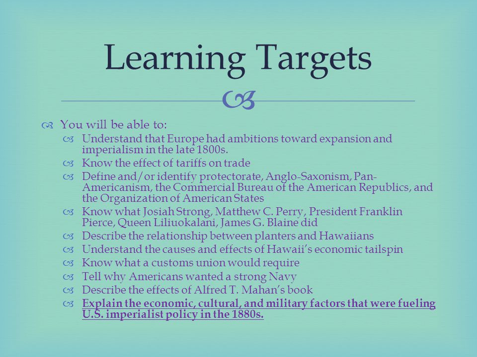 Learning Targets You will be able to: