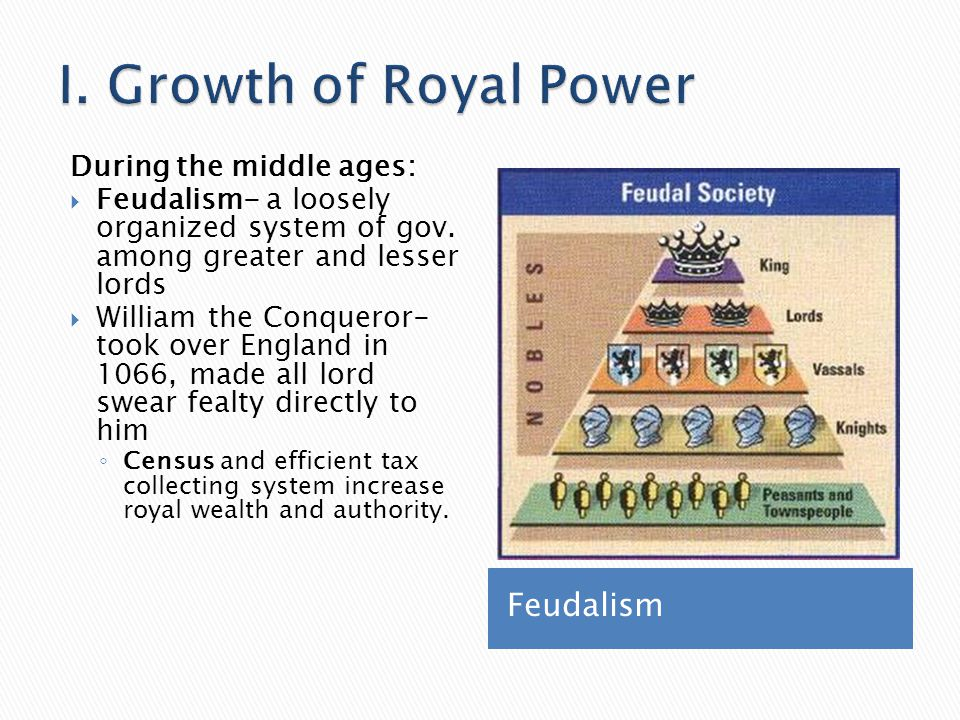 I. Growth of Royal Power Feudalism During the middle ages:
