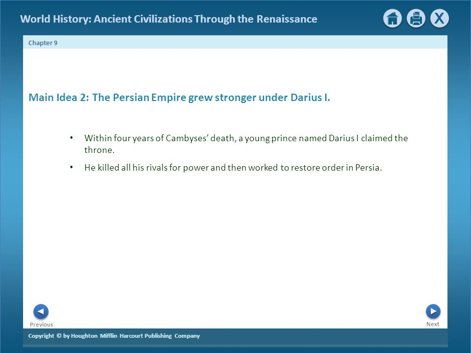 Main Idea 2: The Persian Empire grew stronger under Darius I.